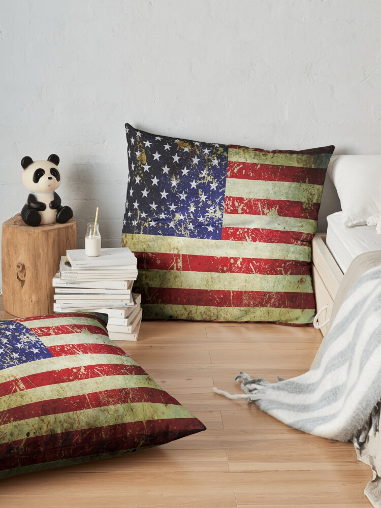 Alternate view of American Flag - Grunge Vintage Aged US Flag Floor Pillow