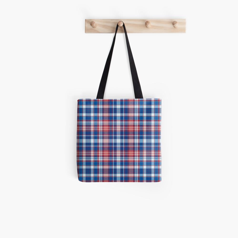 Rot, weiß und blau kariert Stofftasche