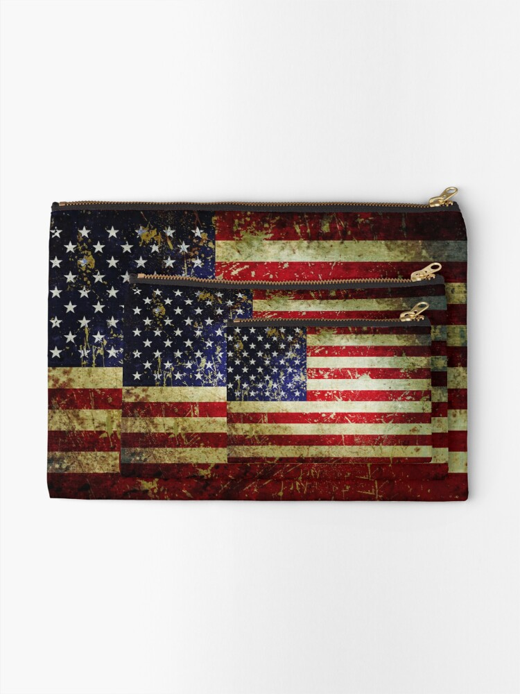 Alternate view of American Flag - Grunge Vintage Aged US Flag Zipper Pouch