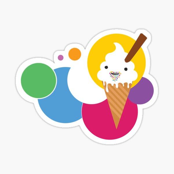 ice cream and happy dots Sticker