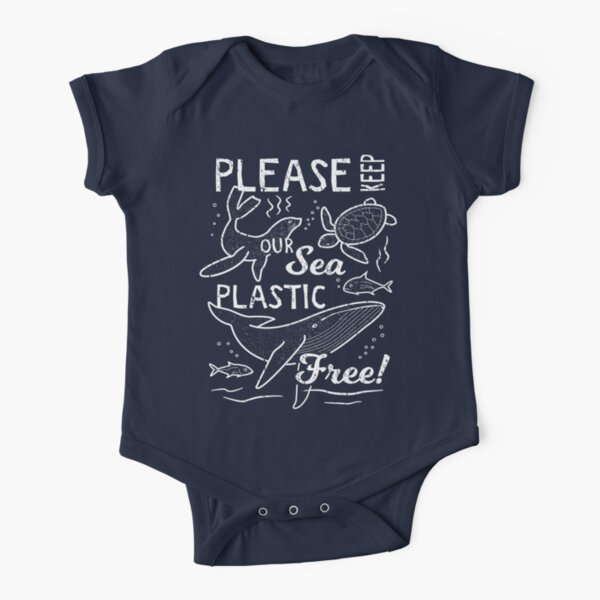 Please Keep Our Sea Plastic Free - Marine Animals Short Sleeve Baby One-Piece