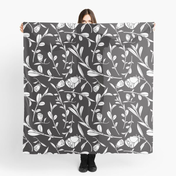 Black & White Floral Pattern with Camellias and Leaves Scarf