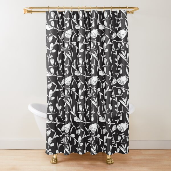 Black & White Floral Pattern with Camellias and Leaves Shower Curtain