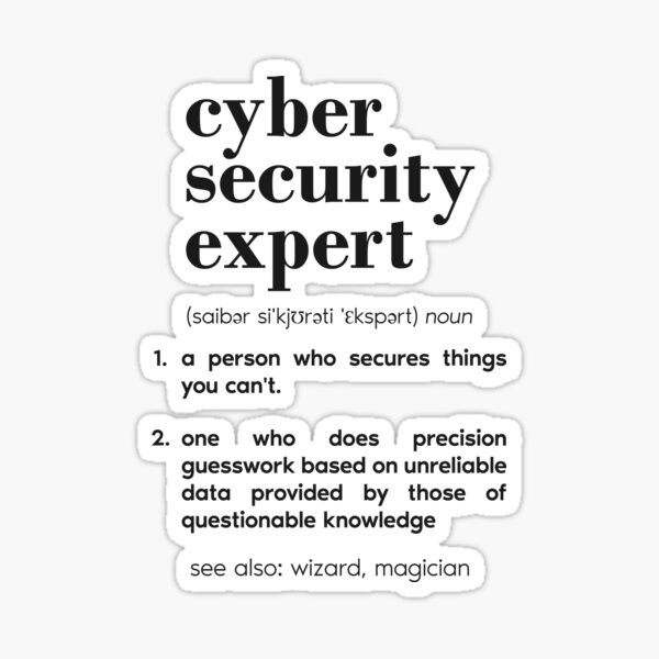 Cyber security expert definition Sticker