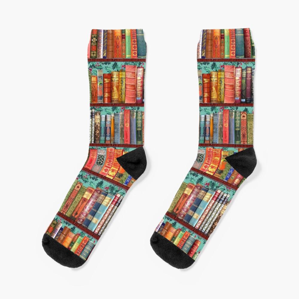Christmas vintage books, holly  Socks