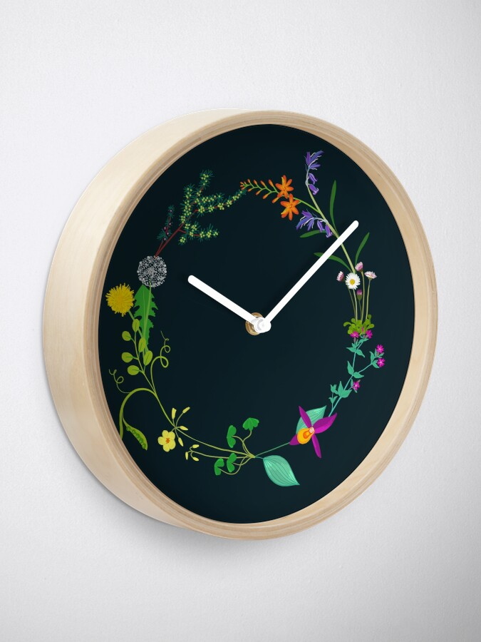 Alternate view of Ring of beautiful plants, flowers Clock
