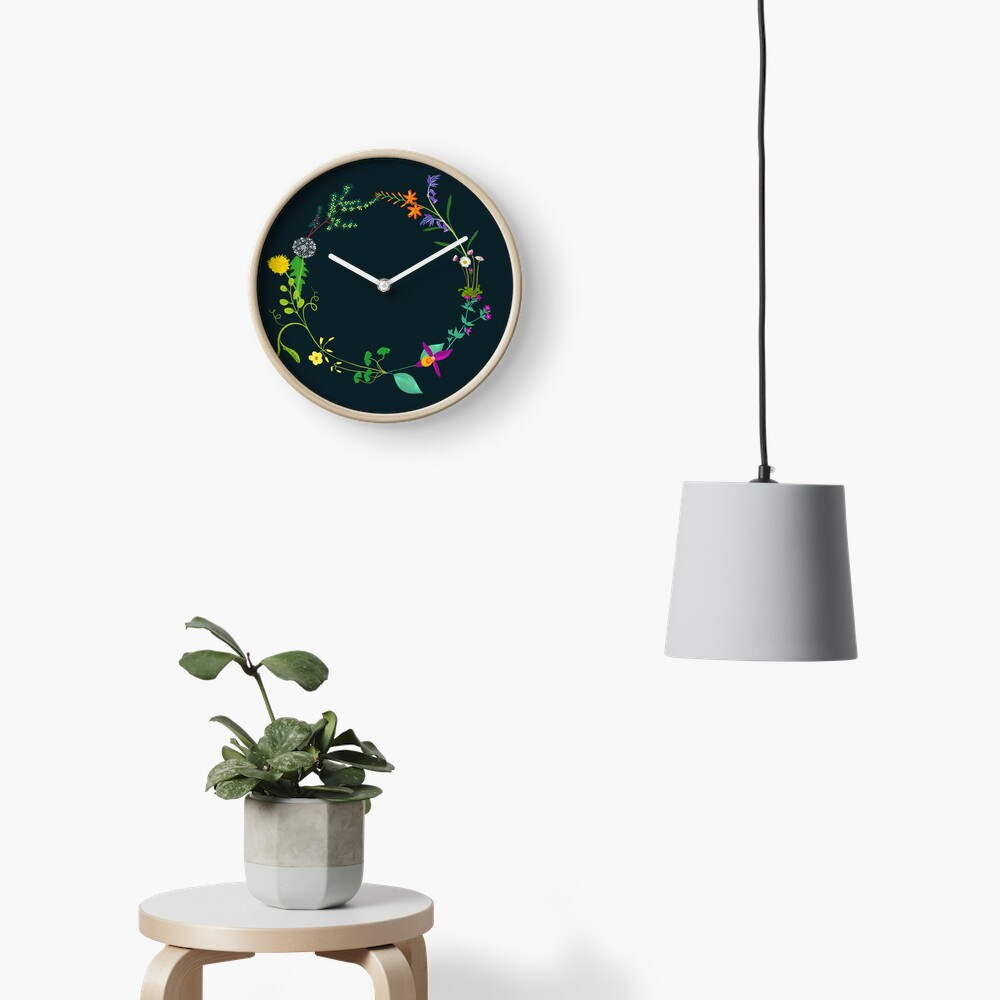 Ring of beautiful plants, flowers Clock
