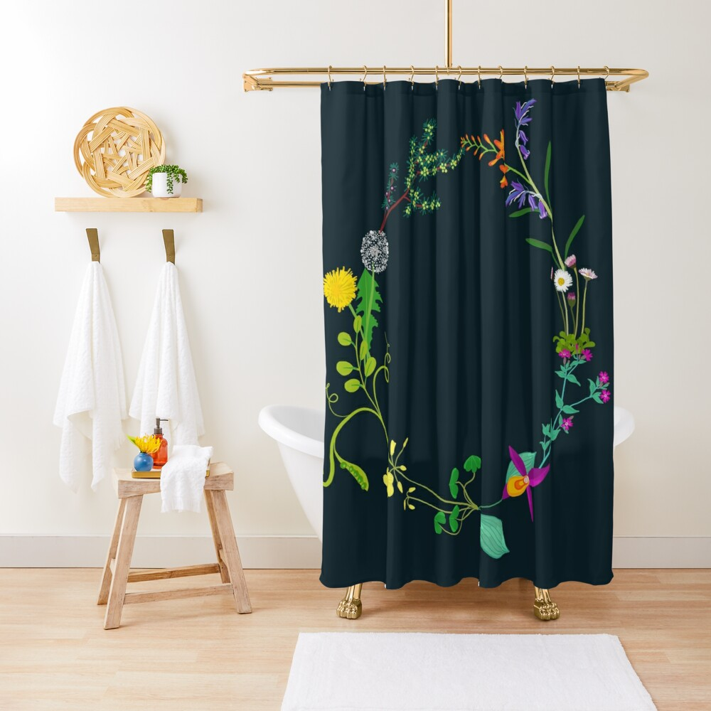 Ring of beautiful plants, flowers Shower Curtain