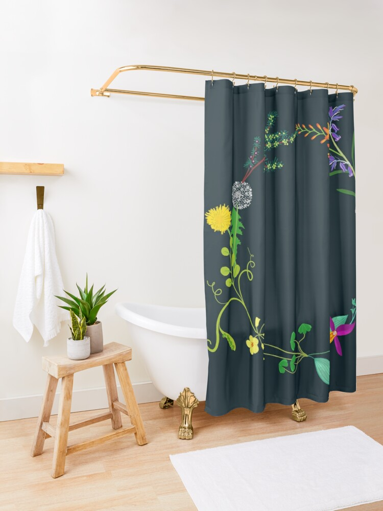 Alternate view of Ring of beautiful plants, flowers Shower Curtain