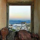 Santorini-Scene through window-Oia by milton ginos