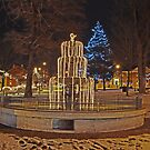 Fountain at Christmas by MClementReilly