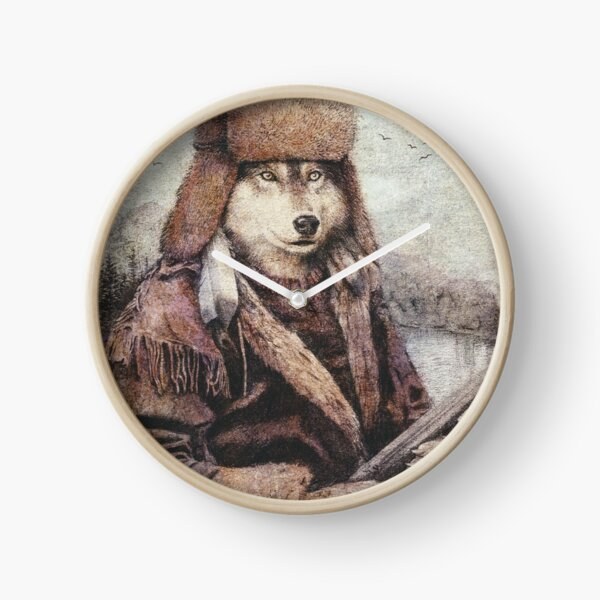 Mountain Wolf Clock