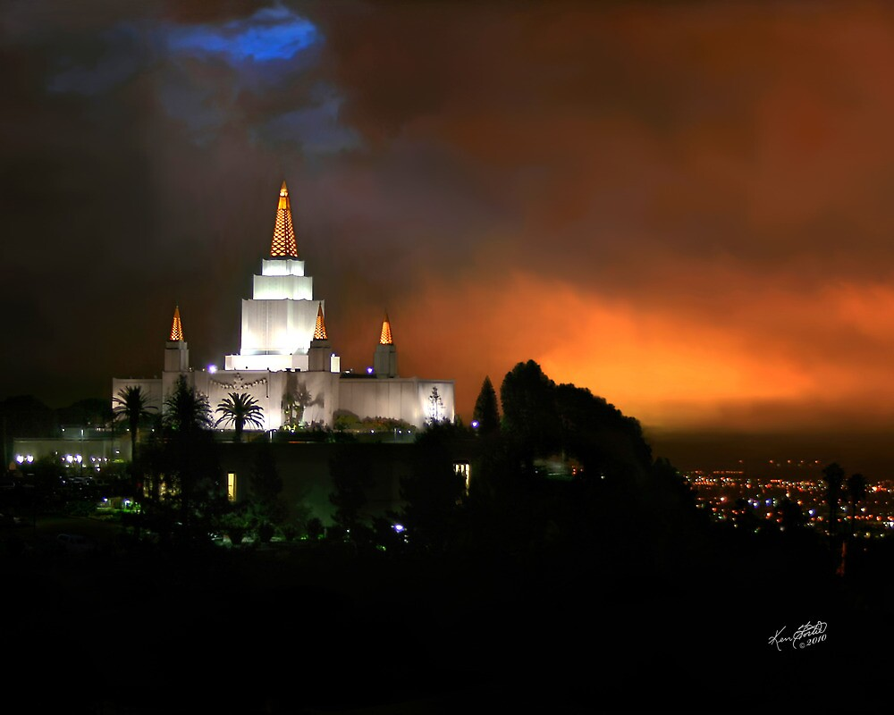 Oakland Temple at Sunset 20x24 by Ken Fortie