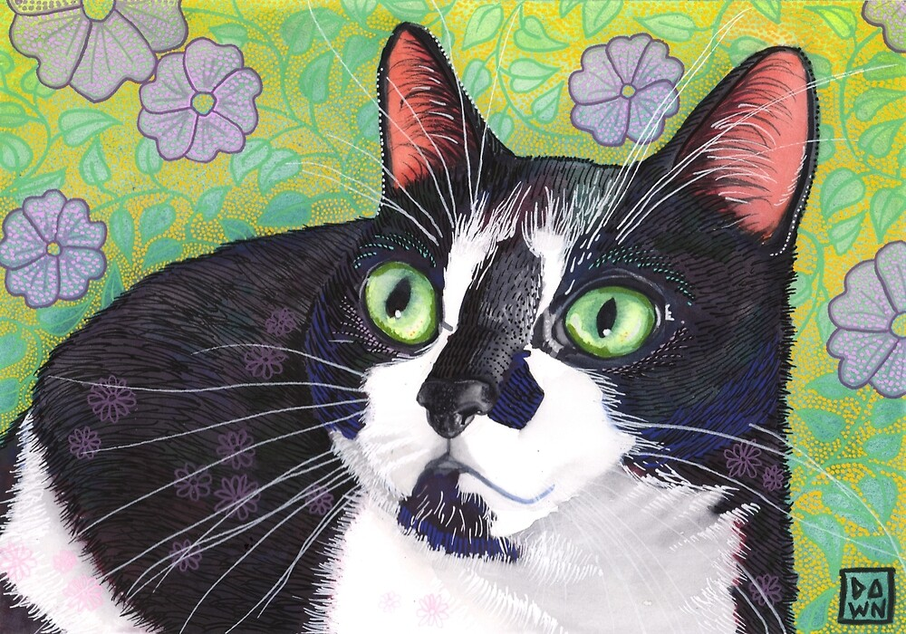 Colorful tuxedo cat painting in an energetic pop art style with violet and green floral background by Dawn Pedersen