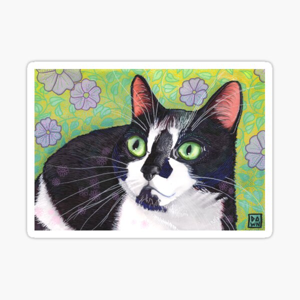 Colorful tuxedo cat painting in an energetic pop art style with violet and green floral background Sticker