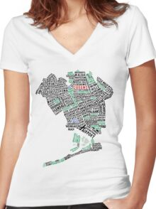 Queens New York Map Typography Women's Fitted V-Neck T-Shirt