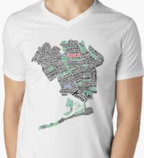 Queens New York Map Typography Men's V-Neck T-Shirt