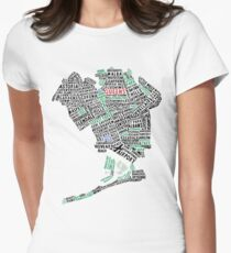 Queens New York Map Typography Womens Fitted T-Shirt
