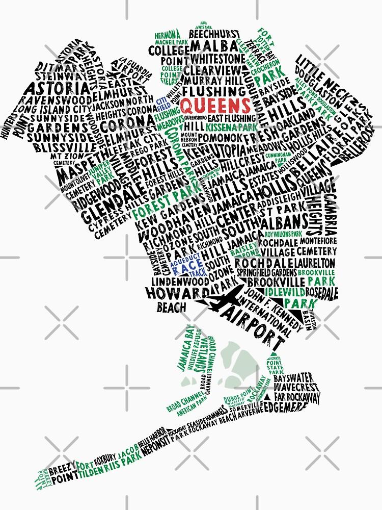 TShirtGifter presents: Queens New York Map Typography | Unisex T-Shirt