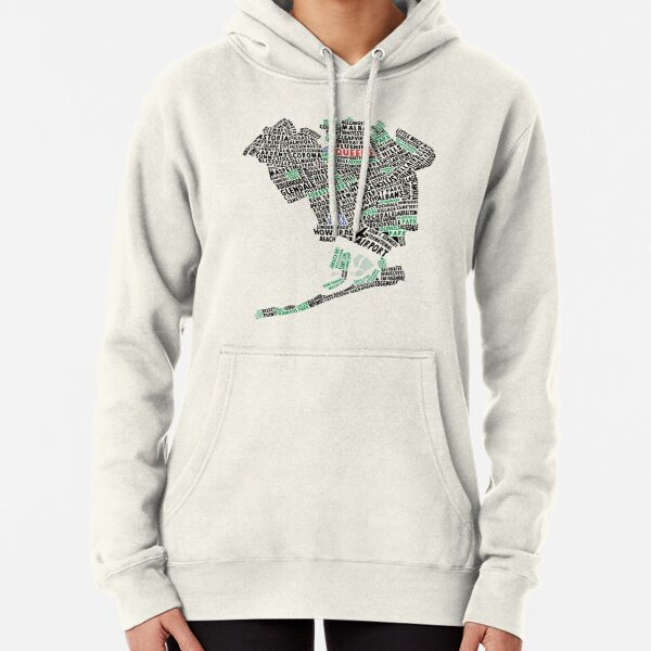 Queens New York Map Typography Pullover Hoodie
