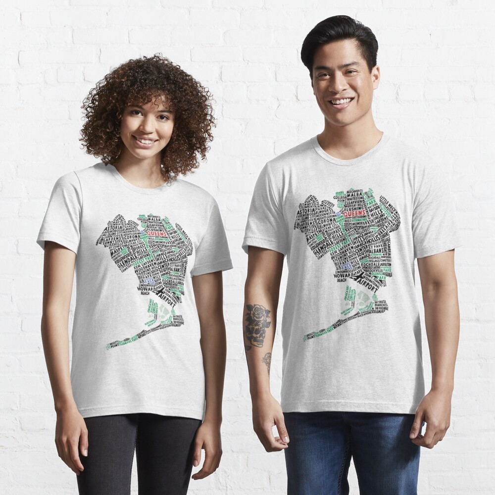 Queens New York Map Typography Essential T-Shirt