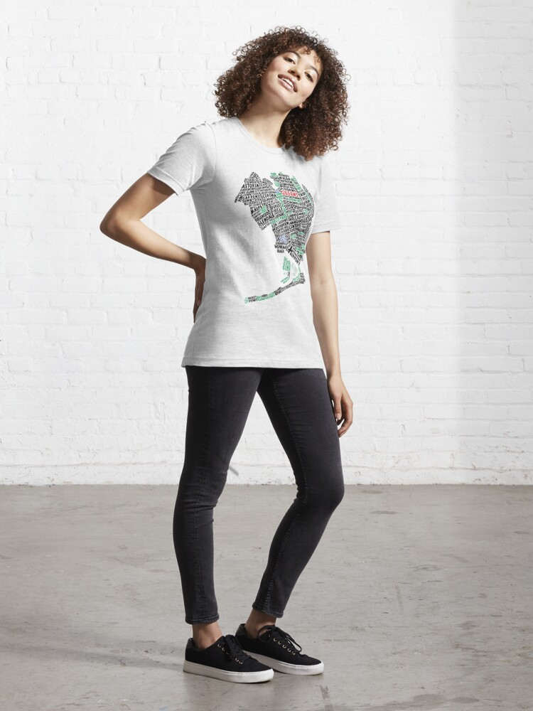 Alternate view of Queens New York Map Typography Essential T-Shirt