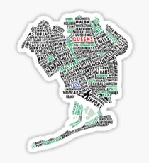 Queens New York Map Typography Sticker