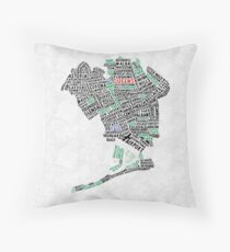 Queens New York Map Typography Throw Pillow