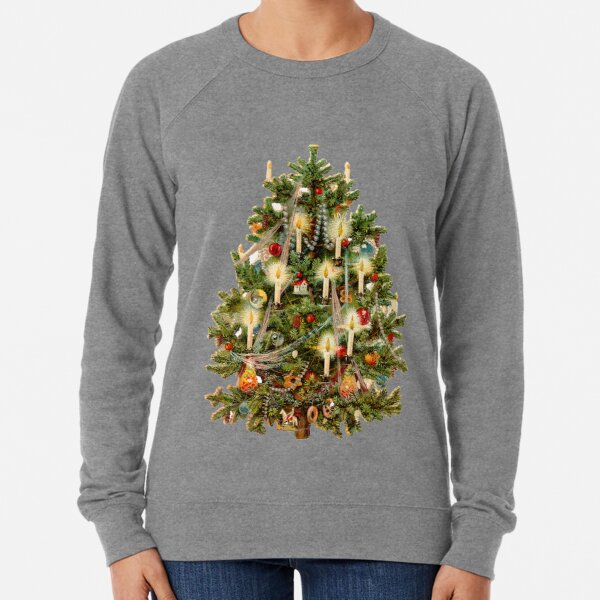 Vintage Christmas Tree With Candles Lightweight Sweatshirt