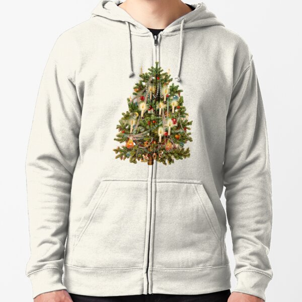 Vintage Christmas Tree With Candles Zipped Hoodie
