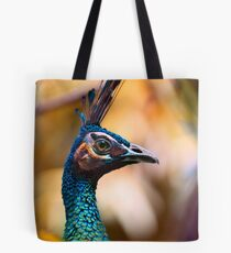 Perfectly poised and proud Peacock with plumage aplenty posing for pictures in profile Tote Bag