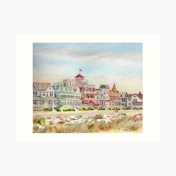 Cape May Promenade, Jersey Shore. From watercolor by Pamela Parsons of the historic architecture of Cape May, New Jersey. Art Print