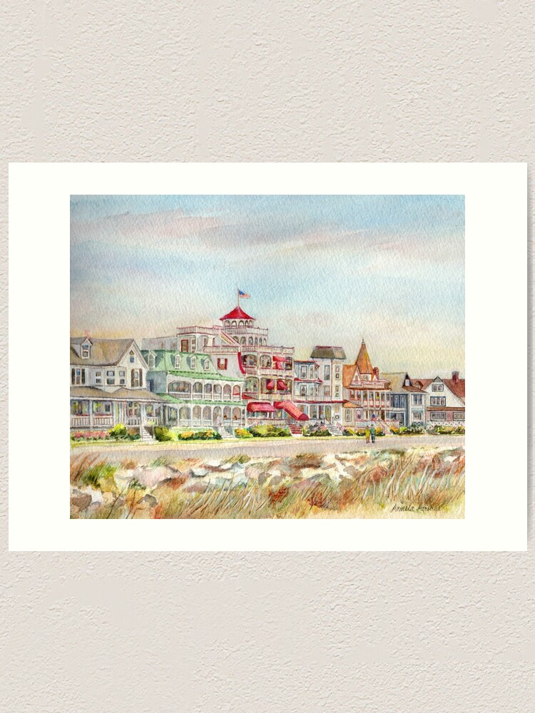 Alternate view of Cape May Promenade, Jersey Shore. From watercolor by Pamela Parsons of the historic architecture of Cape May, New Jersey. Art Print