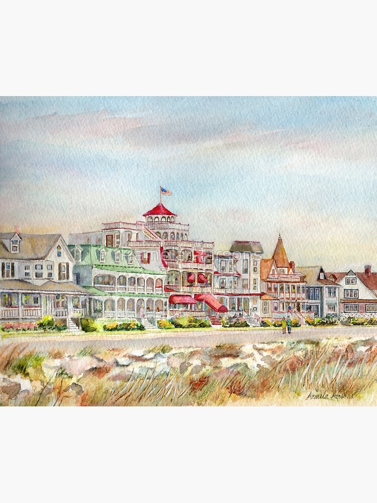 Cape May Promenade, Jersey Shore. From watercolor by Pamela Parsons of the historic architecture of Cape May, New Jersey. by parsonsp