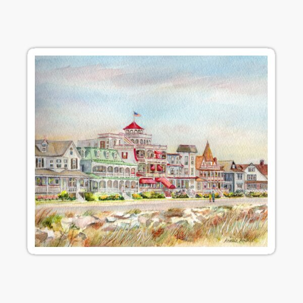 Cape May Promenade, Jersey Shore. From watercolor by Pamela Parsons of the historic architecture of Cape May, New Jersey. Sticker