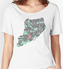 Staten Island Typographic Map Women's Relaxed Fit T-Shirt