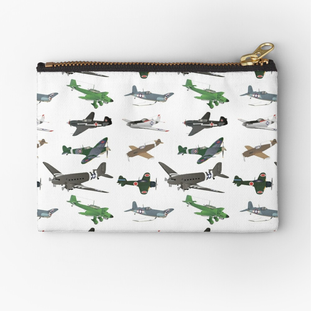 Multiple WW2 Airplanes Zipper Pouch