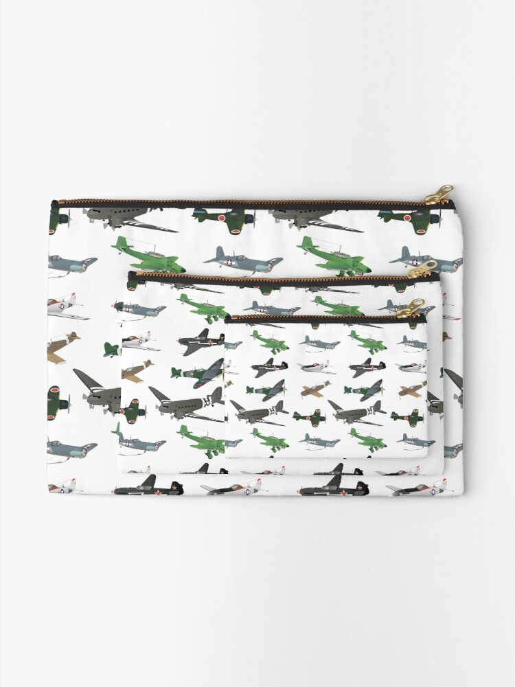 Alternate view of Multiple WW2 Airplanes Zipper Pouch