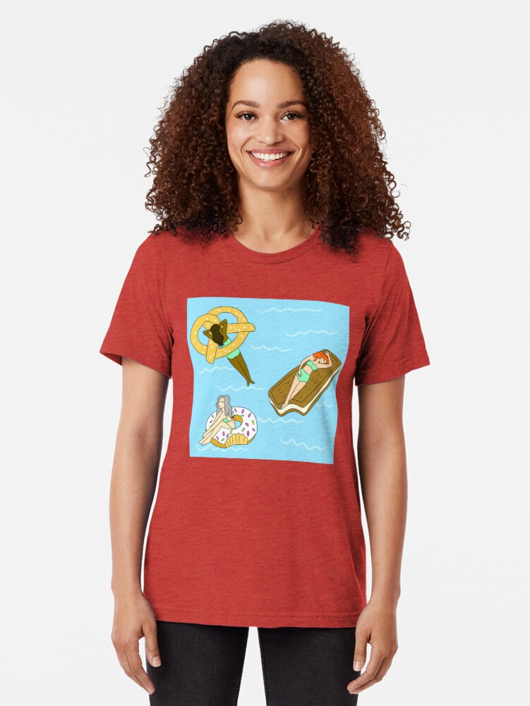 Alternate view of Foodie Pool Party Tri-blend T-Shirt