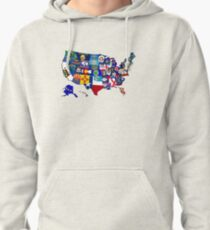 USA State Flags Map Mosaic Pullover Hoodie