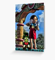 PINOCCHIO AND JIMMY CRICKET (VERSION THREE)(A FAVORITE MEMORY OF MINE) PICTURES-CARDS-PILLOWS-TOTE BAGS-ECT.. Greeting Card
