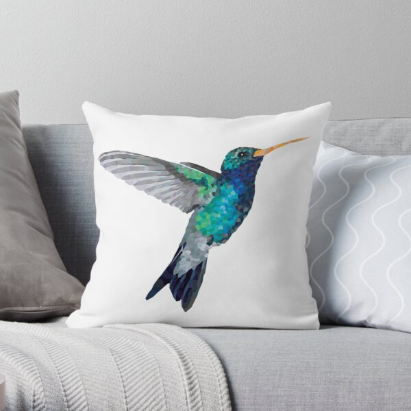 Colibri (Hummingbird) Geometric Animal Illustration Throw Pillow
