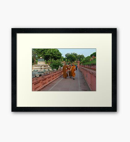 The Monks at Mahabodhi Temple. Framed Print