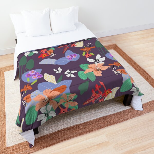 TROPICAL FLORAL ON PLUM Comforter