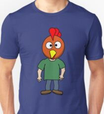 Crazy chicken dude cartoon graphic mens geek funny nerd Unisex T-Shirt