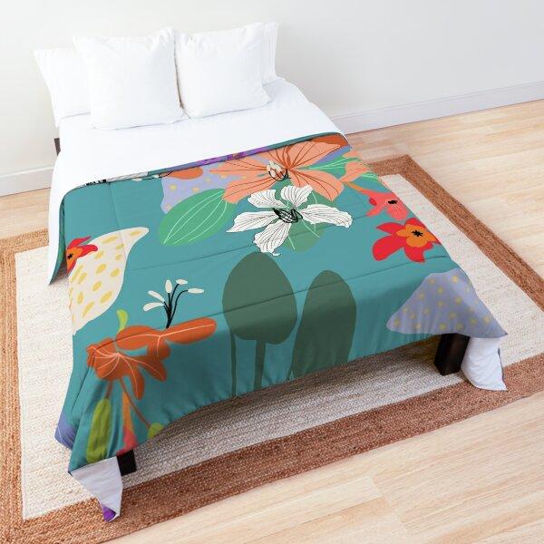 Tropical Floral Design on Teal Background Comforter