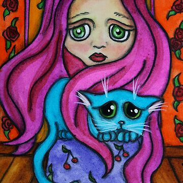 Sad Girl and Cat  by dreamlyn