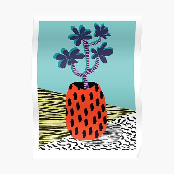 Spazzing - throwback house plant retro 1980s style memphis design neon art pop art print dorm room hipster decor Poster