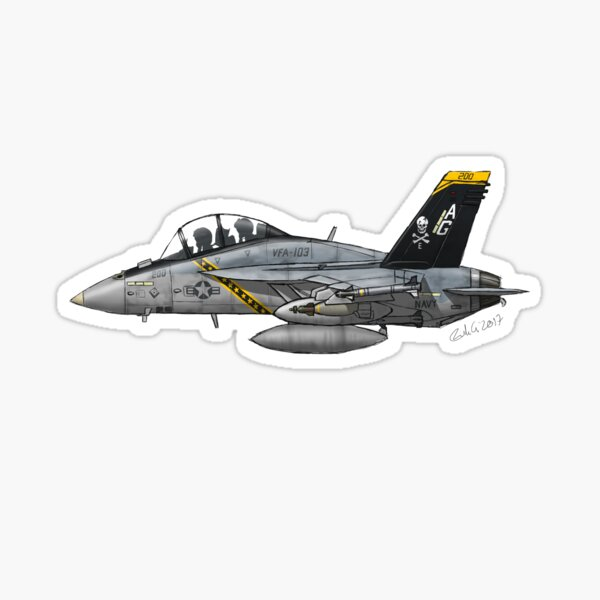"""F/A-18F Super Hornet """"Jolly Rogers"""" Sticker"""