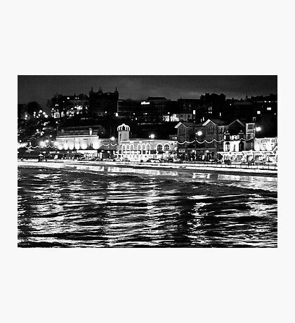 Scarborough Sea Front night Shot (B&W) Photographic Print